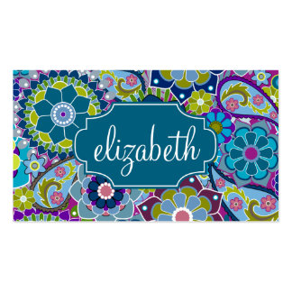 Funky Floral Pattern with Custom Name Pack Of Standard Business Cards