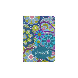 Funky Floral Pattern with Custom Name Passport Holder