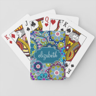 Funky Floral Pattern with Custom Name Playing Cards