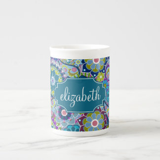 Funky Floral Pattern with Custom Name Tea Cup