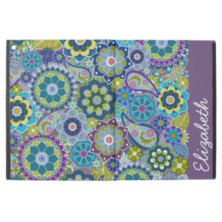 "Funky Floral Pattern with Name aubergine green iPad Pro 12.9"" Case"