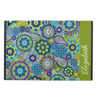 Funky Floral Pattern with Name Case For iPad Air