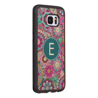 Funky Floral Pattern with Name Wood Samsung Galaxy S7 Edge Case
