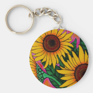 Funky Floral Sunflower Key Chain