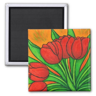 Funky Floral Tulip Magnet