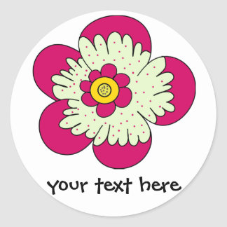 funky florals classic round sticker