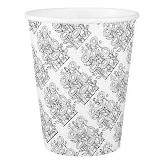 Funky Flower Garden Line Art Design Paper Cup
