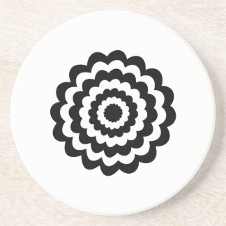 Funky Flower in Black and White. Coaster
