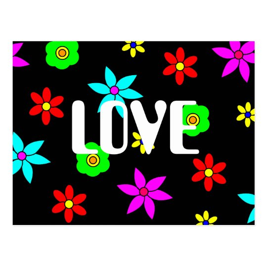 Funky Flower Love Explosion Postcard