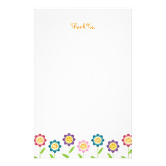 Funky Flower Row Thank You Stationery