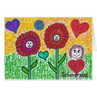 """Funky Flower Sisters & Friend"" Card"