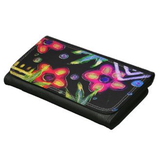 Funky Flowers Abstract Art Wallet