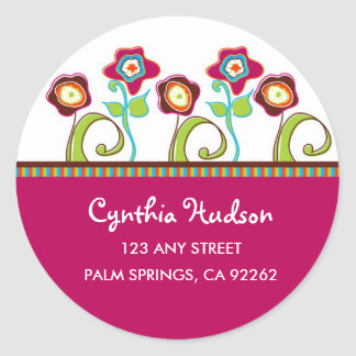 Funky Flowers Address Labels Round Sticker
