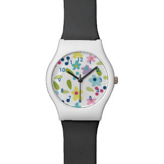 Funky Flowers Girl's Black and White Watch
