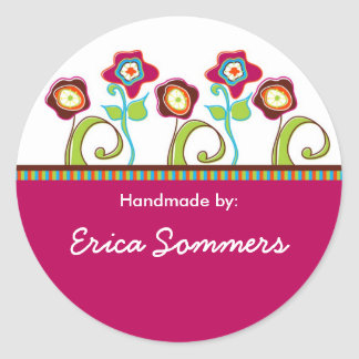 "Funky Flowers ""Handmade"" Labels Round Sticker"