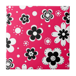 Funky Flowers in Hot Pink Tile