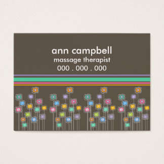 Funky Flowers n Cabana Stripes Business Card