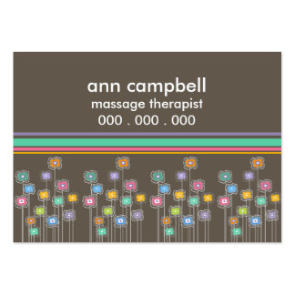 Funky Flowers n Cabana Stripes Business Cards
