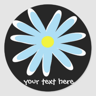 Funky flowers round sticker