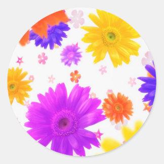 Funky Flowers Round Sticker