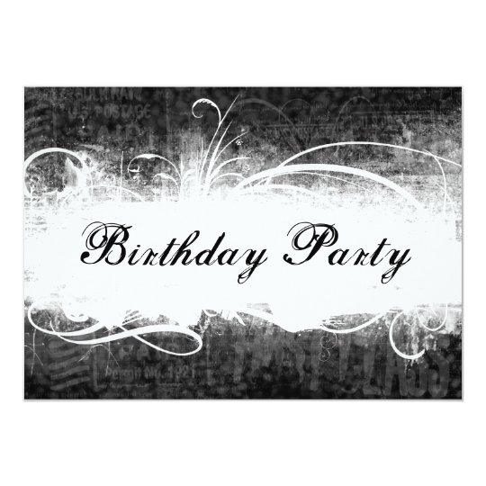 Funky Fresh Black Grunge Birthday Party Invitation