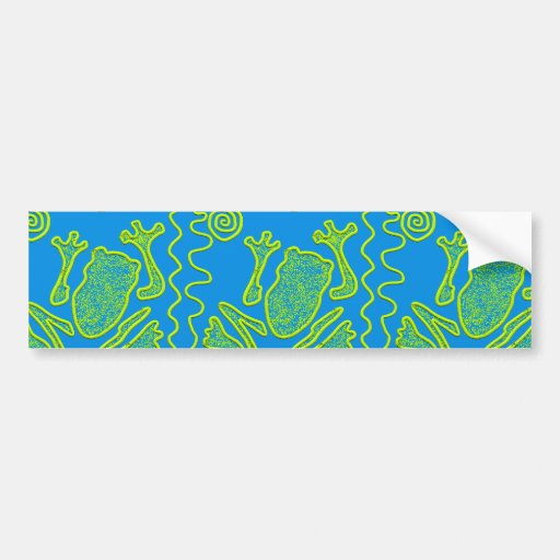 Funky Frog Blue Green Toad Kids Doodle Art Bumper Stickers