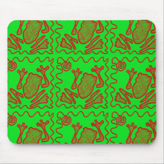 Funky Frog Lime Green Red Toad Kids Doodle Art Mouse Pad
