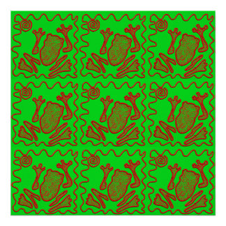 Funky Frog Lime Green Red Toad Kids Doodle Art Print