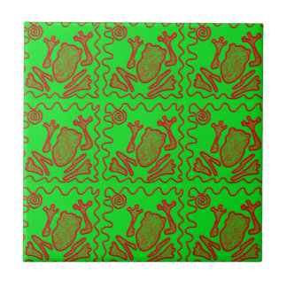 Funky Frog Lime Green Red Toad Kids Doodle Art Small Square Tile