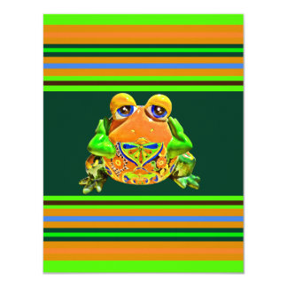 Funky Frog Orange Green Striped Novelty Gifts 11 Cm X 14 Cm Invitation Card