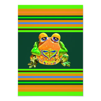 Funky Frog Orange Green Striped Novelty Gifts 13 Cm X 18 Cm Invitation Card