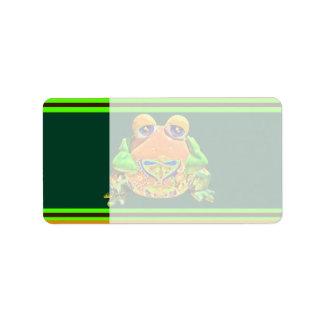 Funky Frog Orange Green Striped Novelty Gifts Address Label