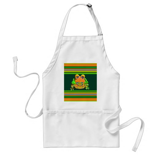 Funky Frog Orange Green Striped Novelty Gifts Apron