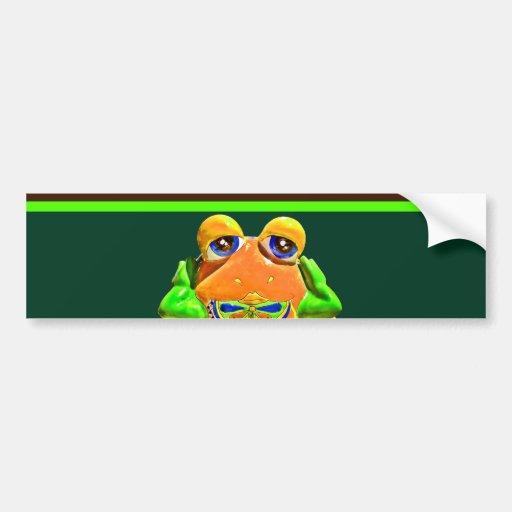 Funky Frog Orange Green Striped Novelty Gifts Bumper Sticker
