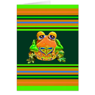 Funky Frog Orange Green Striped Novelty Gifts Greeting Card