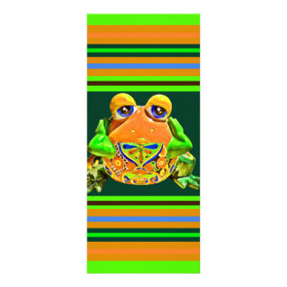 Funky Frog Orange Green Striped Novelty Gifts Personalized Announcement