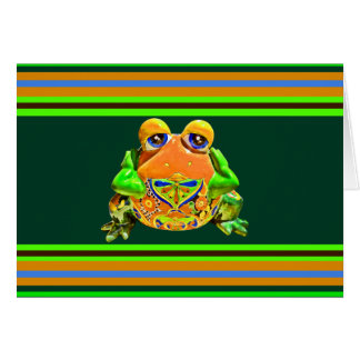 Funky Frog Orange Green Striped Novelty Gifts Note Card