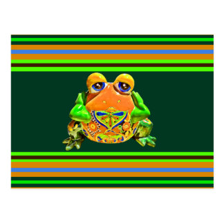 Funky Frog Orange Green Striped Novelty Gifts Postcard