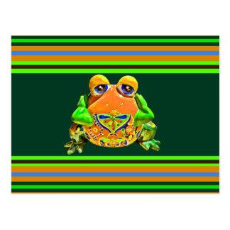 Funky Frog Orange Green Striped Novelty Gifts Postcard