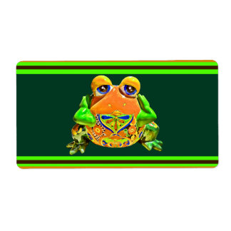 Funky Frog Orange Green Striped Novelty Gifts Shipping Label