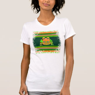 Funky Frog Orange Green Striped Novelty Gifts Tee Shirt