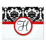 Funky & Fun Black Damask Red Trim Wedding RSVP Personalised Invitation