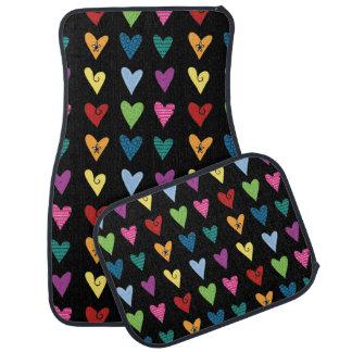 Funky Fun Heart Doodles Car Mat
