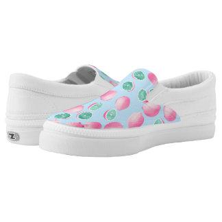 Funky Fun Lemons in Pink and Teal Printed Shoes