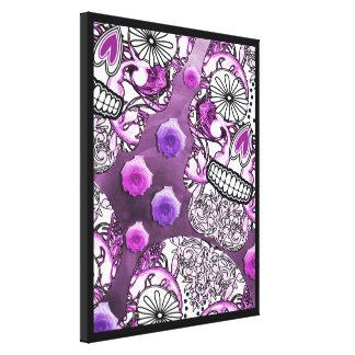 Funky Fun Purple Sugar Skulls and Roses Canvas Prints