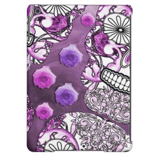 Funky Fun Purple Sugar Skulls and Roses Case For iPad Air