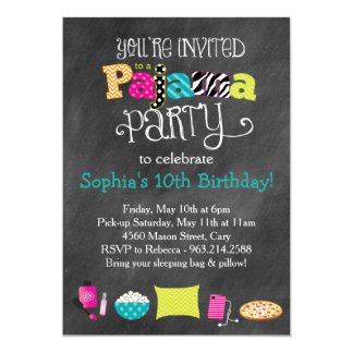 Funky Fun Teen or Tween Pajama Party 13 Cm X 18 Cm Invitation Card