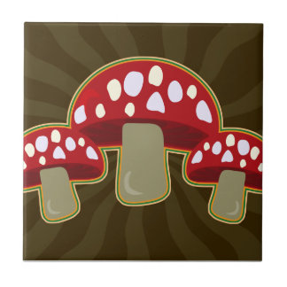Funky Fungi Mushrooms Tile