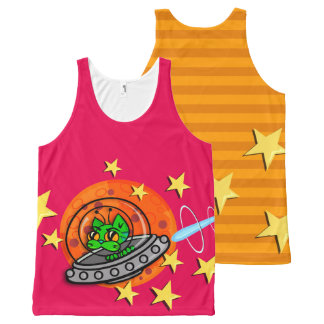 FUNKY GALACTIC SPACE CAT ALL OVER PRINT TANK All-Over PRINT TANK TOP