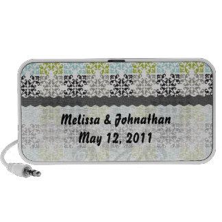 funky geometric damask  wedding keepsake notebook speaker